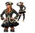 Mulheres Cosplay Saia Preta Ouro Sexy Traje Do Pirata Traje de Halloween Com Chapéu CO71204217