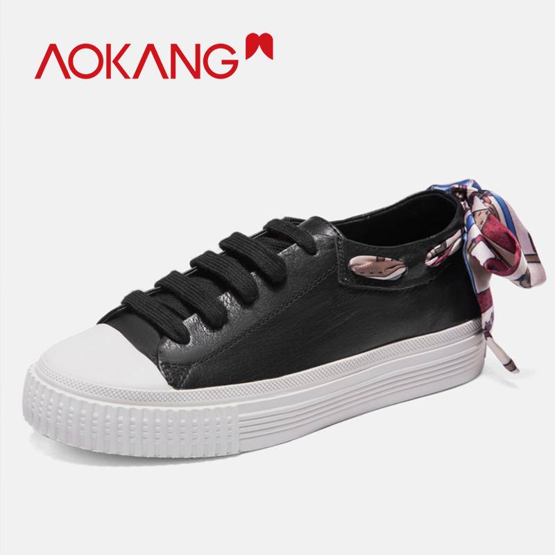 AOKANG 2019 Spring Summer casual shoes women comfortable breathable shoes woman flat shoes lace up high