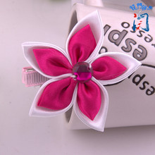 2 PIECES LOT Popular hand making hair accessories partysu colors five lobus apicalis flowers hairpins girls