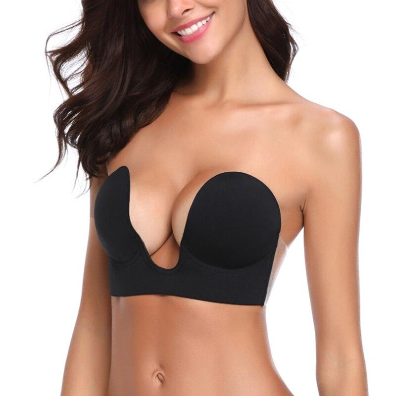 2f7fc590e9 Plunge U Sexy Invisible Adhesive Bra brassiere Strapless Bra Push Up ...