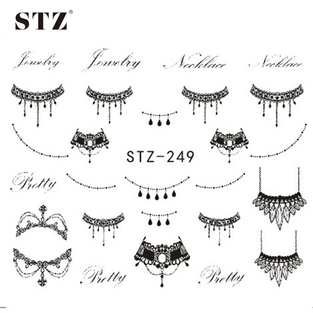 STZ 1 Sheets DIY Black Necklace  Jewelry Design Fashion Water Transfer Sticker Nail Art