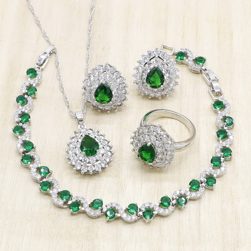Green Semi-precious Silver Jewelry Sets for Women Bracelet Necklace Pendant Stud Earrings Ring Birthday Wedding Jewelry