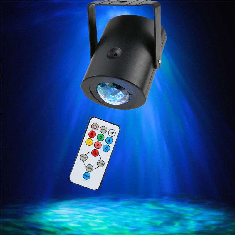 ZjRight Led Stage Light IR Remote Water Wave Projector RGBWYPC colorful Flash effect for holiday Party Disco Bar dj lighting