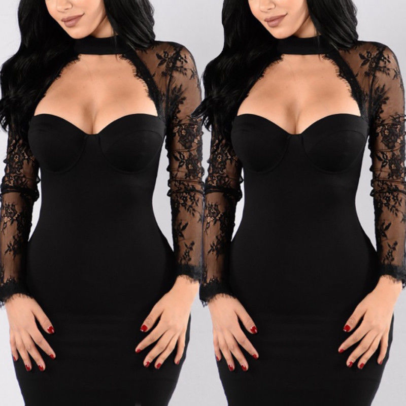 5b4ee971727 New Women Summer Sexy Lace Patchwork Long Sleeve Dress Solid Boob Tube Top  Halter Short Mini Dresses