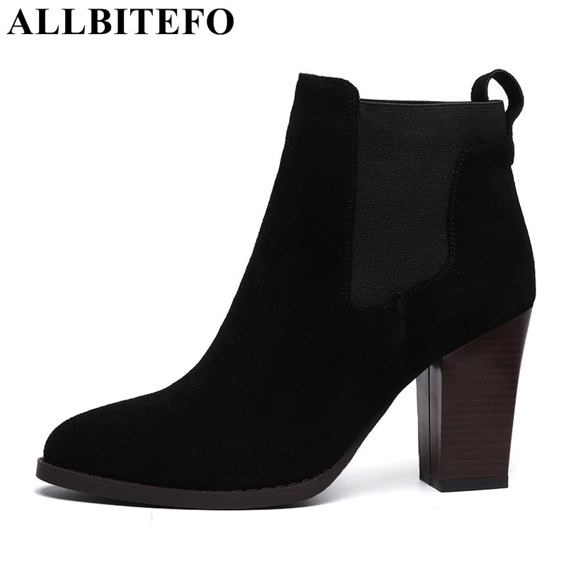 ALLBITEFO Factory on sale thick heel genuine leather Patchwork short women boots pointed toe fashion ankle boots martin boots стоимость