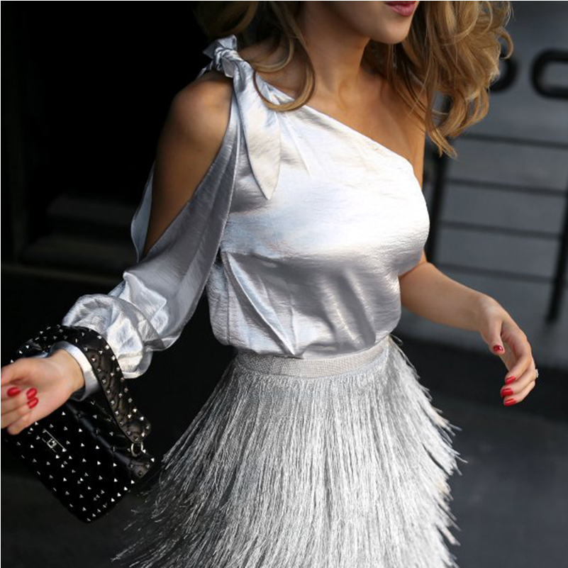 AEL One Shoulder Sliver Sexy Shirt Split Sleeve Top 2 Piece Set Women Fringe Skirts Tassels Long Elegant Bodycon Midi Summer2020