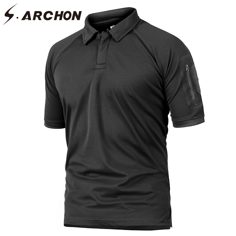 S.ARCHON Summer Tactical Military Army Polo Shirt Men Quick Dry Breathable Casual Polo S ...