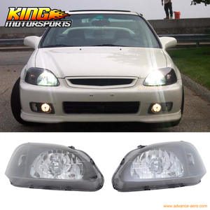 For 99 00 Honda Civic Ek Jdm Black Housing Headlights Lamps Head Lamps Dr