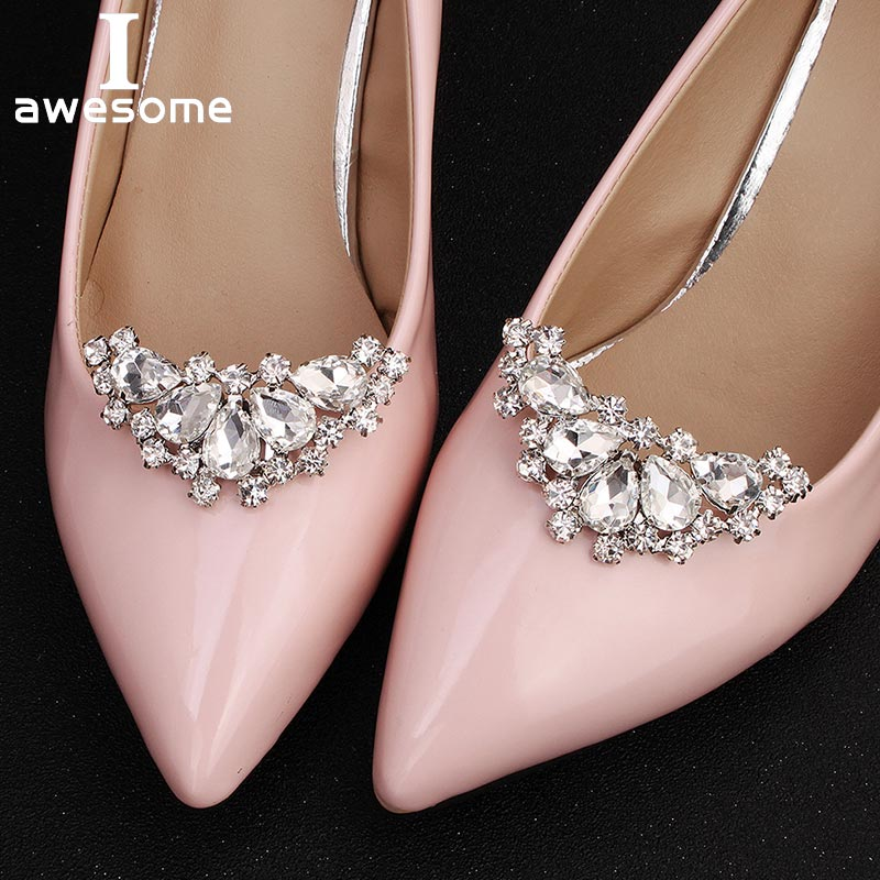 1 Pair 2 PCS Crescent Moon Decorative Shoe Clips Rhinestone Pearl Crystal Fashion Wedding Party Shoes Decorations Accessories