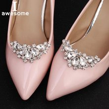 1 Pair 2 PCS Crescent Moon Decorative Shoe Clips Rhinestone Pearl Crystal  Fashion Wedding Party Shoes f58e4fb23aa9