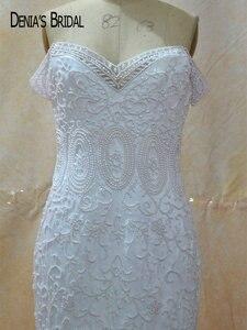 Image 3 - Кружевное свадебное платье с юбкой годе, без рукавов, со шлейфом