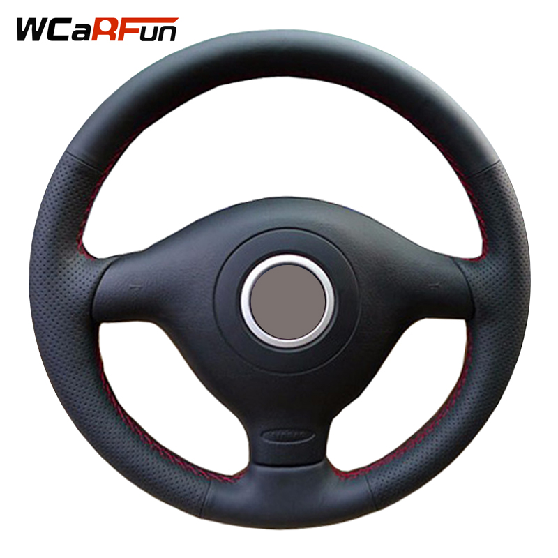 Black Artificial Leather Steering Wheel Cover for Volkswagen VW Golf 4 Passat B5 1996-2003 Seat Leon 1999-2004 Polo 1999-2002