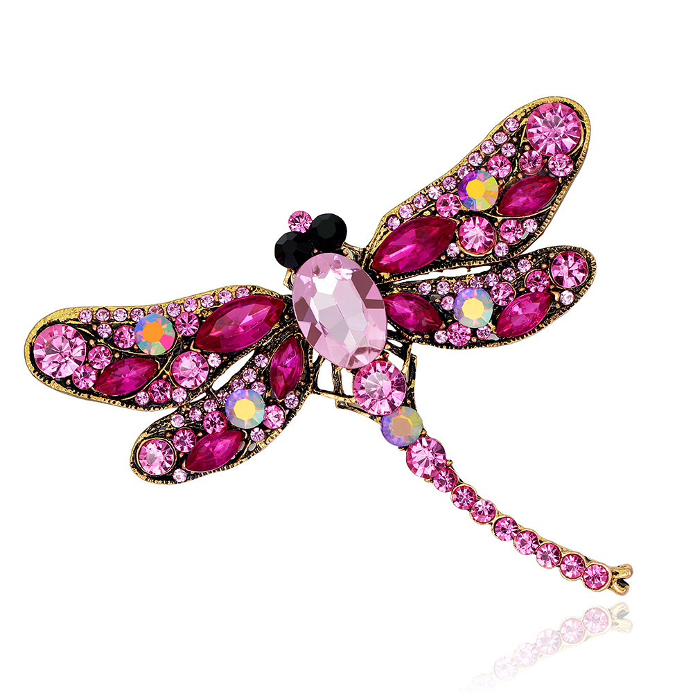 Hot Sale Crystal Rhinestone Dragonfly Brooch For Women Dress Scarf Enamel Brooch Pin badge Femme Gift