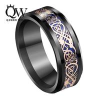 QUEENWISH Infinity 8Mm Black Tungsten Ring 18k Rose Gold Celtic Dragon Blue Carbon Fibre Vintage Mens