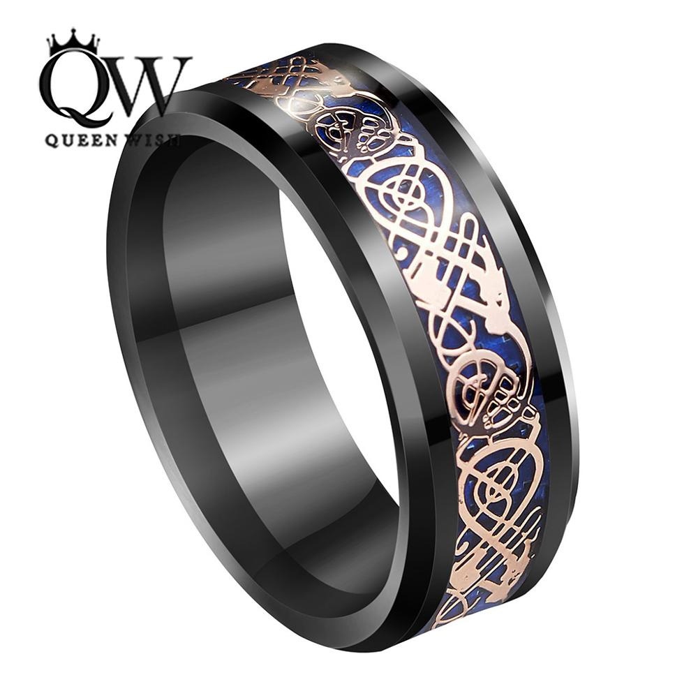 QUEENWISH 8mm Black Tungsten Ring Rose Gold Celtic Dragon