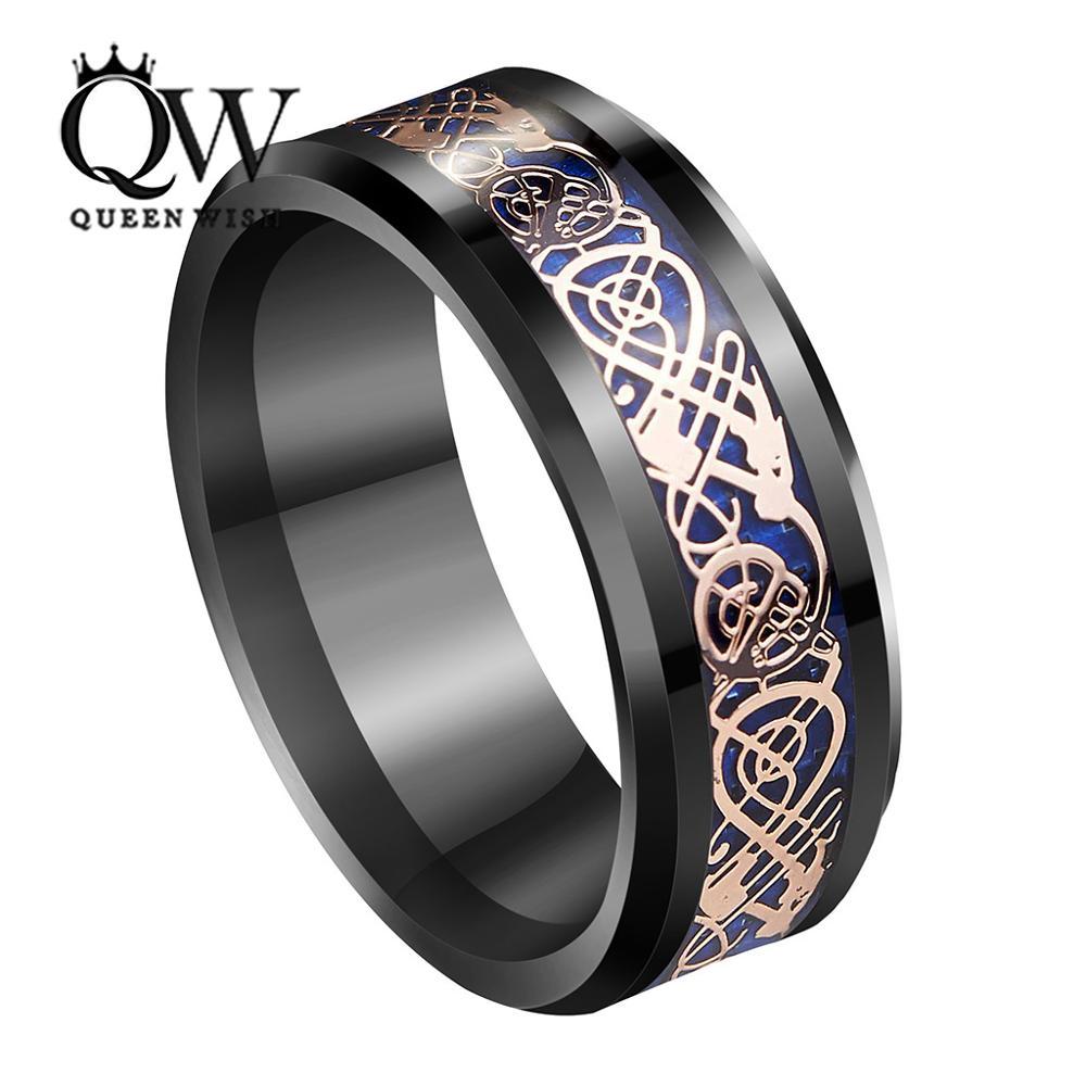 QUEENWISH 8mm Black Tungsten Ring Rose Gold Celtic Dragon