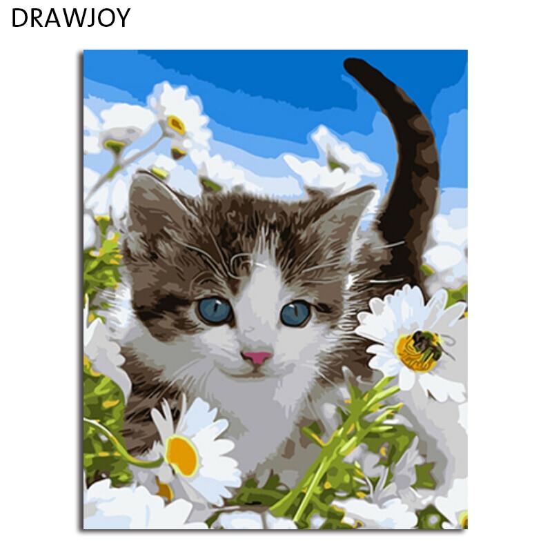 DRAWJOY Incorniciato Immagine Pittura di DIY Dai Numeri FAI DA TE Gatto Immagine Pittura e Calligrafia Arte Della Parete GX3219 40*50 cm