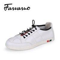 Farvarwo 2017 الرجال عارضة الانزلاق على الأحذية الجلدية الأزياء تنفس رجل حذاء أبيض وأسود رحلة ترفيهية للذكور الصيف الفاخرة