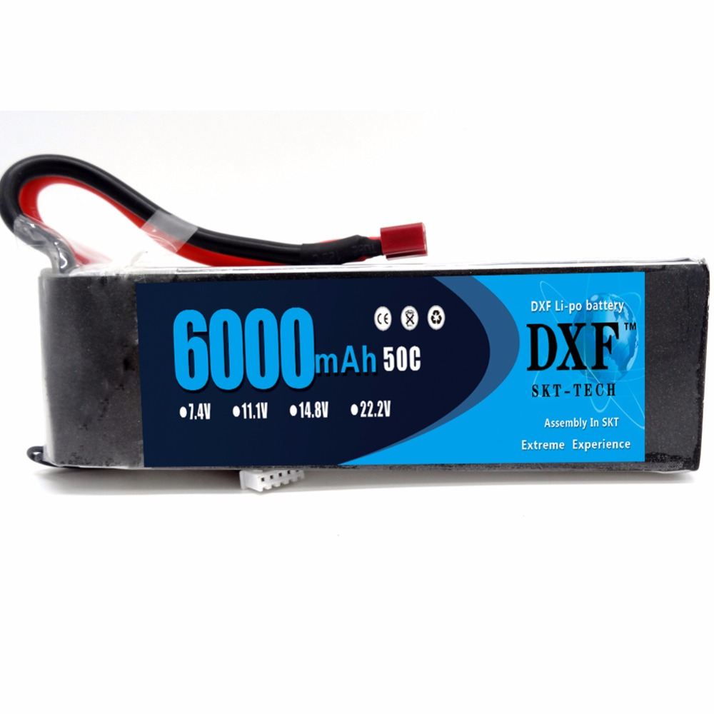 DXF 14.8V 6000mAh 50C 4S Lipo Li-Polymer Battery Bateria AKKU T Plug for RC Car Quadcopter Helicopter Airplane free shipping high capacity 14 8v 10400mah lipo battery li poly lithium polymer power 4s 25c akku bateria for rc car heli model