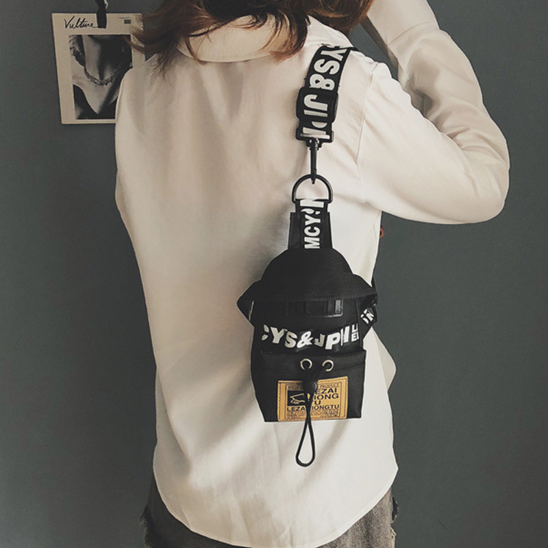 Women's Fanny Pack Letter Chest Bag Hip Hop Banana Belt Bag Mini Shoulder Crossbody Bags Female Nylon Waist Bags Purse Pocket