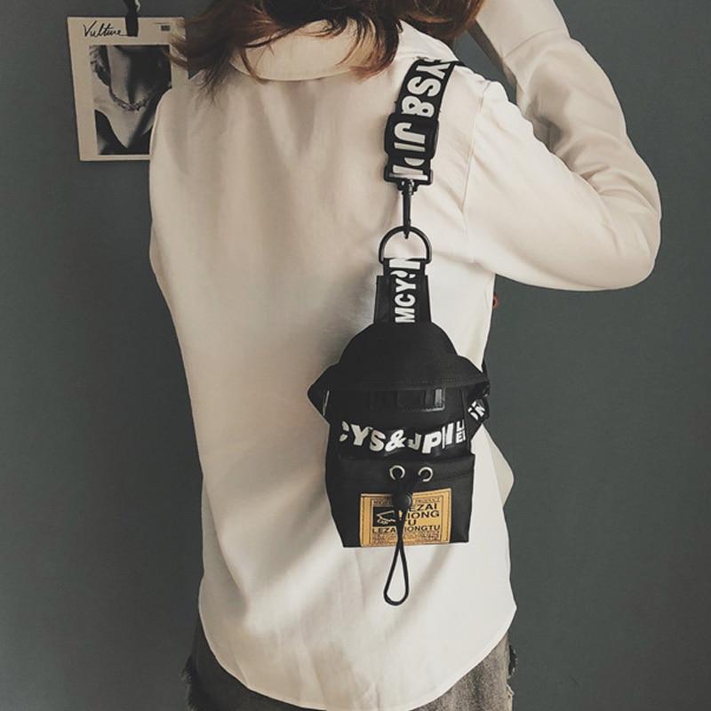 Women's Fanny Pack Letter Chest Bag Hip Hop Banana Belt Bag Mini Shoulder Crossbody Bags Female Nylon Waist Bags Purse Pocket
