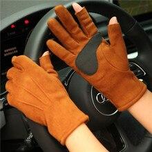 Faux Suede Gloves Female Male Autumn Winter 2019 New Thicken Plus Velvet Semi-Finger Driving For Woman Man SZ025