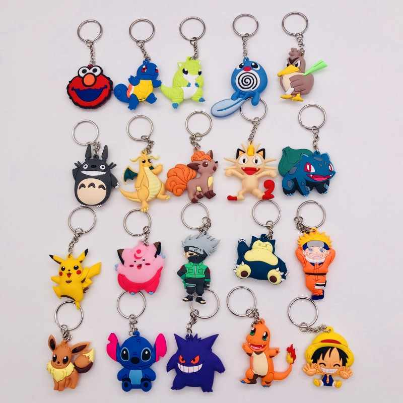 3D Anime Figure Pokemon Go Keychain Cute Cartoon PVC Pocket Monsters Pikachu Pendant Key Chain Key Ring Kids Key Holder Gift