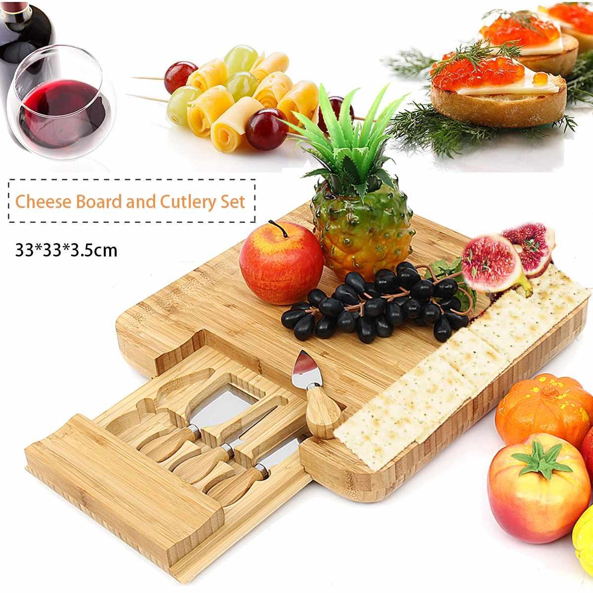 Planche à fromage en bambou naturel avec ensemble de couteaux à couverts tiroir coulissant plateau en bois 4 petits couteaux de coupe à manche en bois