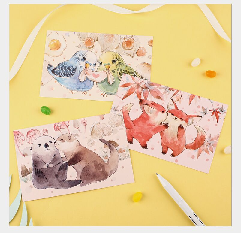 30Pcs/pack Lovely Fox Rabbit Frog Otter Bird Postcard Greeting Card Envelope Gift Birthday Card New Year Message Card Escolar