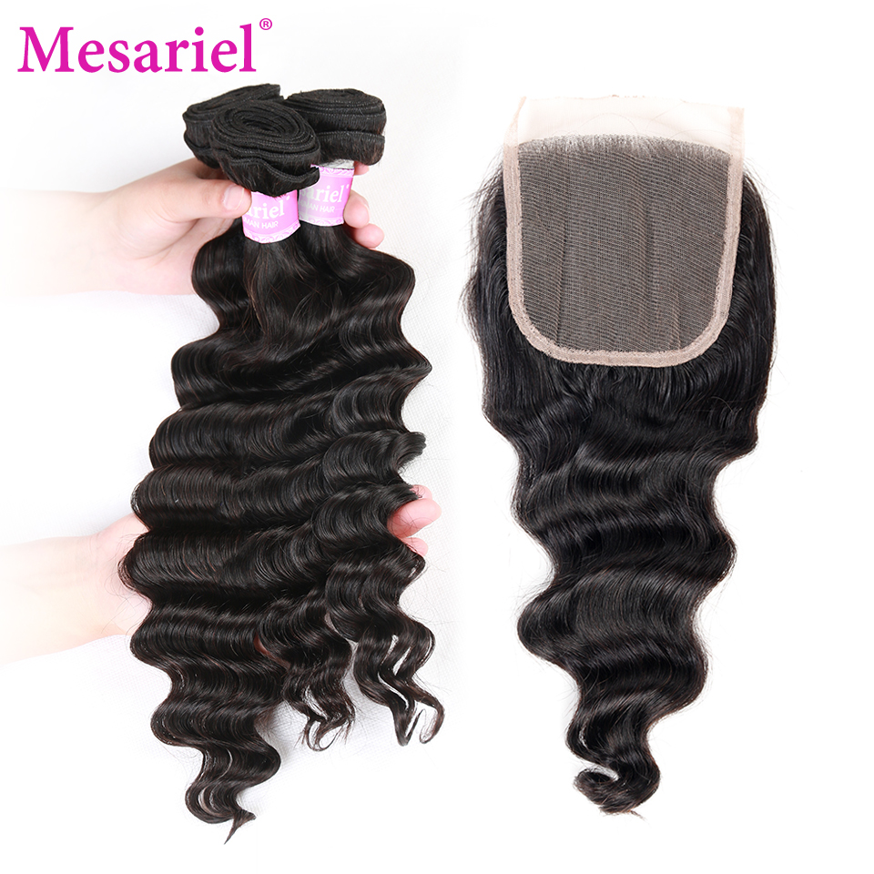 Mesariel Brazilian Loose Wave Bundles With Closure 100% Human Hair Weave Bundles 4 Bundles With Free Part Closure Non Remy Hair