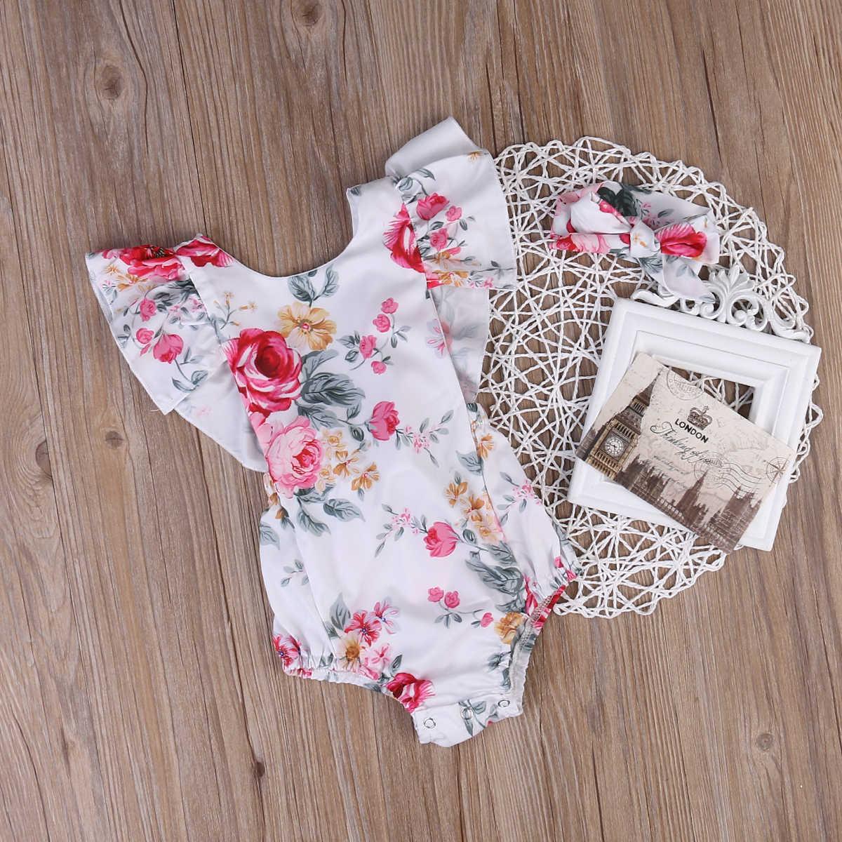 ¡2 uds! Verano 2017, mameluco de niña recién nacida, mono con volantes florales, mono + diadema, ropa de una pieza 0-18M