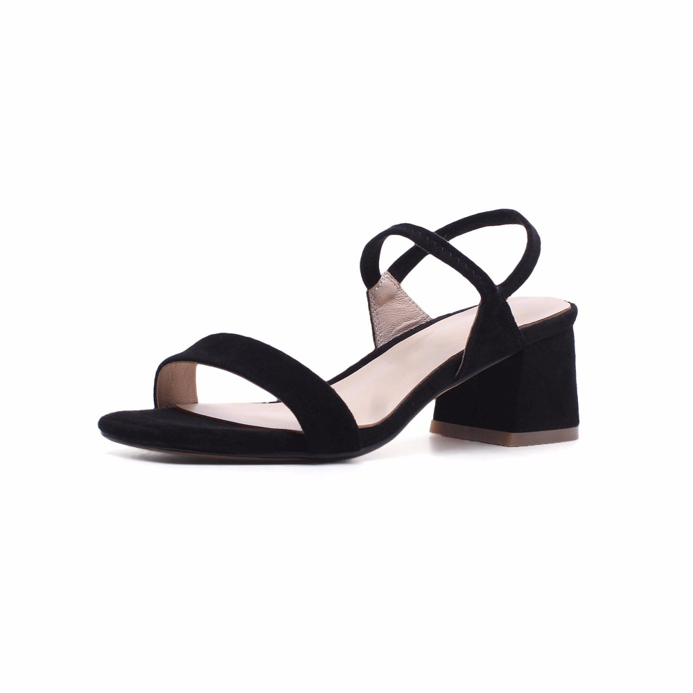 Nueva Mujeres Señora 2018 Sandalias Oficina Conciso Llegada Suede De Las Hebilla Toe Beige Boda Zapatos negro L04 Dulce Elegante Correas Kid Peep Estilo Preppy RqpdAqr