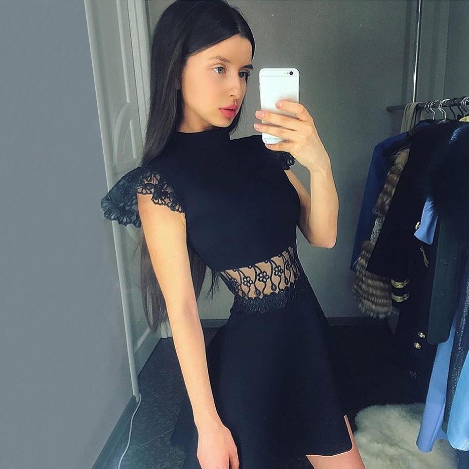 Adyce 2019 New Summer Women Bodycon Bandage Dress Vestidos Elegant Black Lace Short Sleeve Nightclub Dress