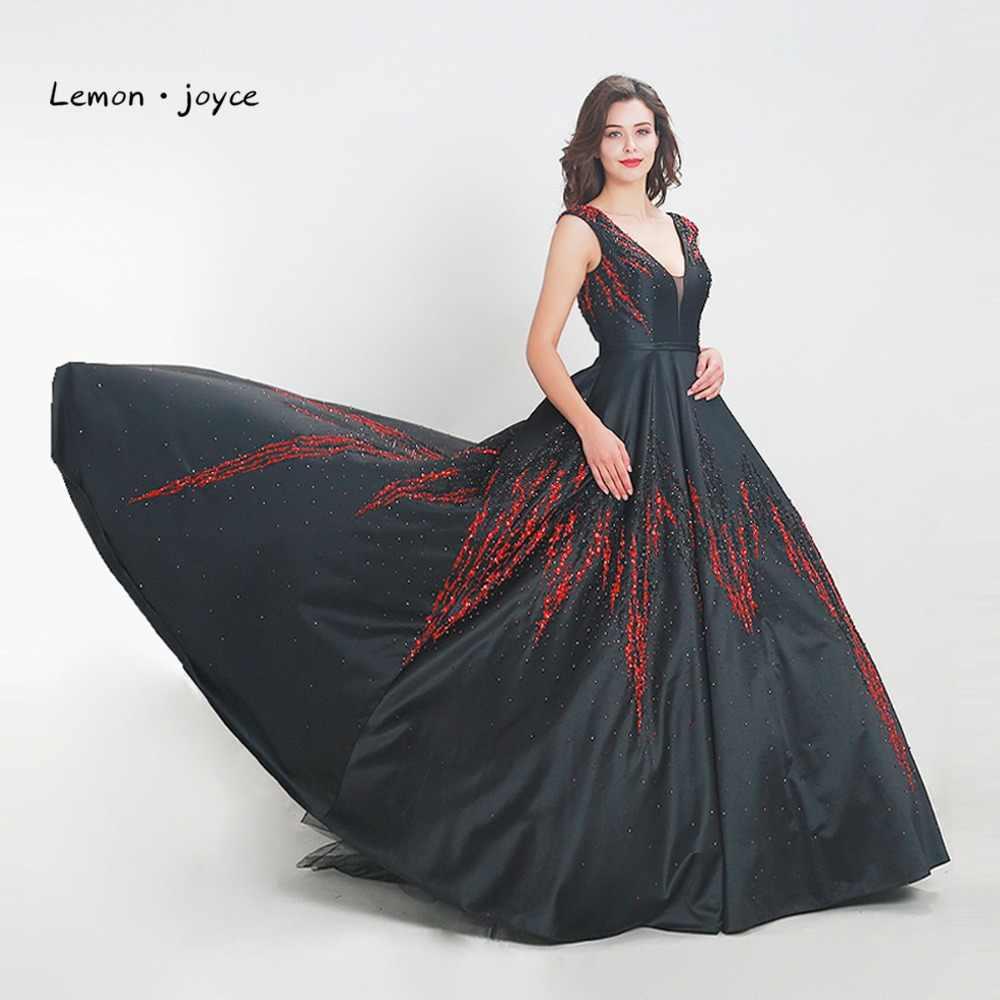 860f01d2e4892 Lemon joyce 2019 Luxury Beaded Prom Dress New Design Satin Tank Backless  Long Floor Length Party Dress Evening Dresses Plus Size