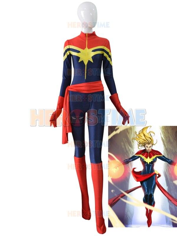 Ms Marvel Carol Danvers Female Superhero Custom Made Captain Marvel Cosplay Halloween Costumes for Women Spandex Bodysuit