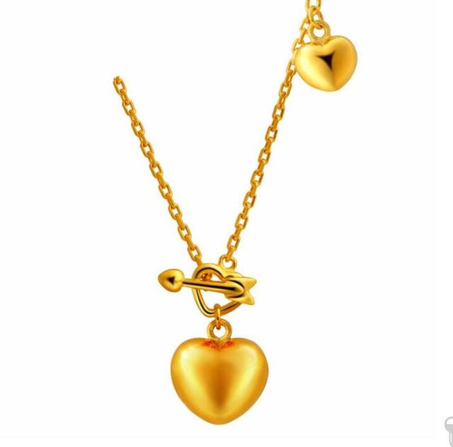 Hot sale pure solid 24k yellow gold heart pendant necklace chain hot sale pure solid 24k yellow gold heart pendant necklace chain 497g aloadofball Gallery