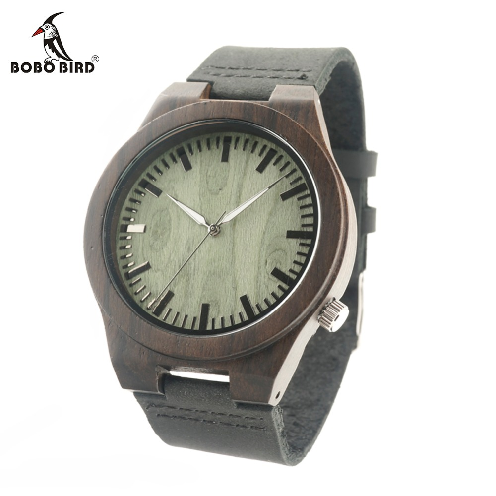 BOBO BIRD B14 Vintage Black Wood Watches With Real Leather Band Men's Top Brand Design Quartz Watches With Cardboard Box Box