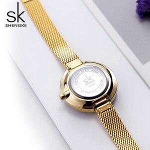 Image 5 - Shengke moda lüks bayanlar İzle prizma Fac altın çelik ızgara kuvars kadın saatler Top marka saat Relogio Feminino