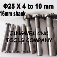 2PCS 25mm X 16 Shank Dia HSS T Slot Milling Cutter With Staggered Teeth