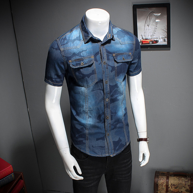 M-3XL Summer 2017 New Style Denim Short Sleeve Men Shirt Mens Dress Shirts Male Clothes Social Casual Shirt Men Brand  CD177
