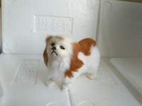 About 15x7x14cm White Pekingese Dog Model Toy Yellow Tail And Ears Polyethylene Furs Handicraft Miniatures Decoration