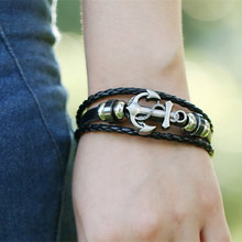 2019 New leather stainless steel anchor jewelry bracelet punk men fashion gift
