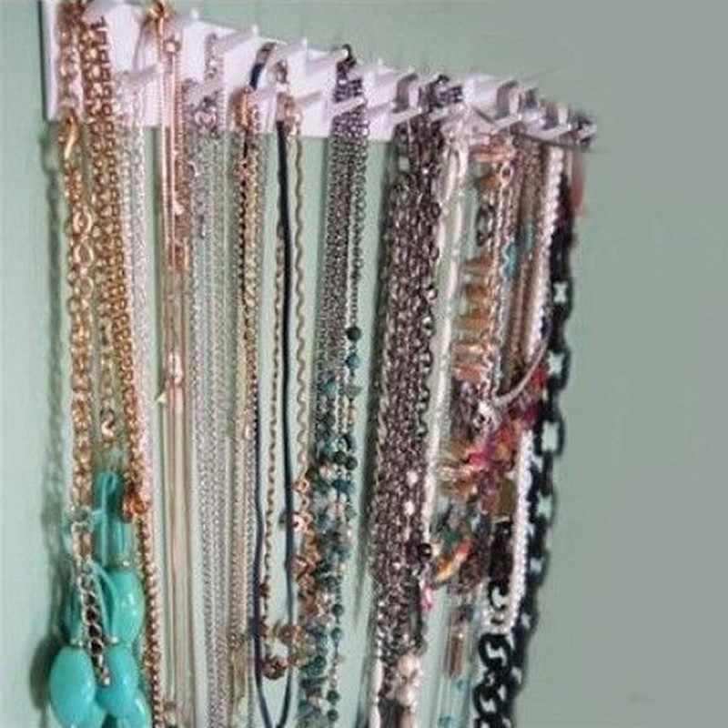 Estante de almacenamiento de joyas collar y pendientes de joyería organizador de soporte colgante exhibición de embalaje ganchos adhesivos montaje en pared