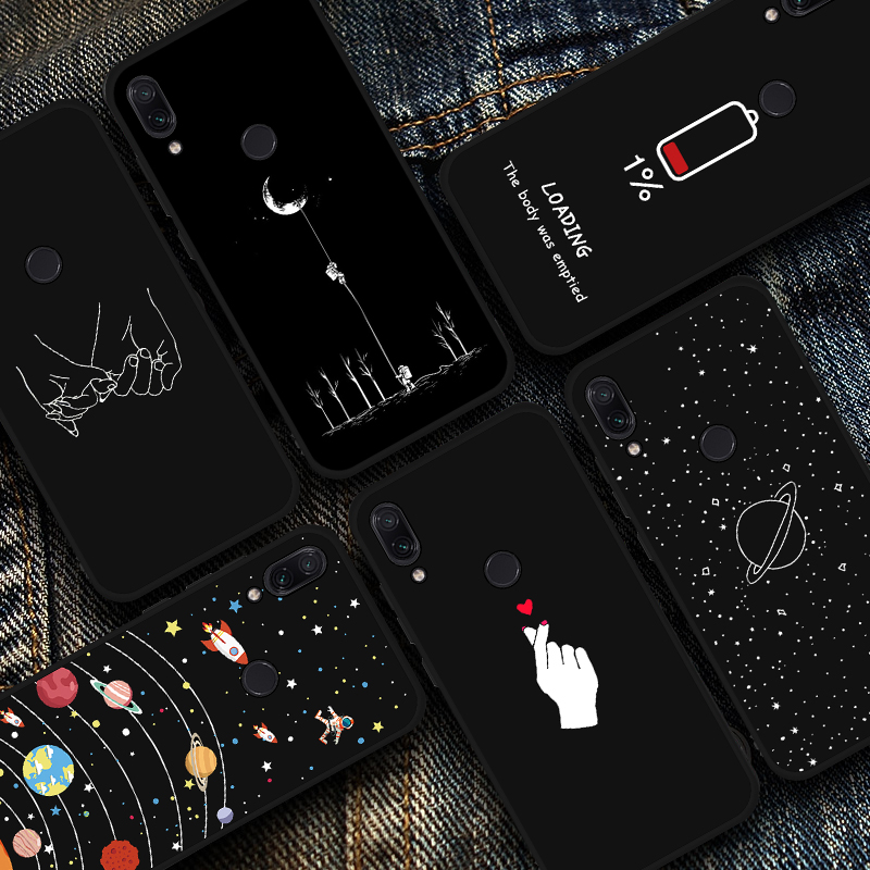 Silicone Soft TPU Phone Case For Xiaomi Redmi Note 7 Heart and Moon Pattern Shockproof Cover Case For Xiaomi Redmi Note 7