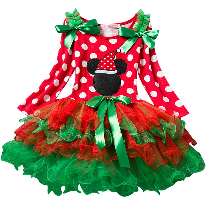 Fancy Christmas Snow Man Xmas Gift Winter Dot Cotton Red Long Sleeve Dress Girl Party Santa Dresses Baby Girls Christmas Costume fashion baby girls dress kids christmas party red paillette tutu dresses xmas gift sleeveless princess costume girls dress 10