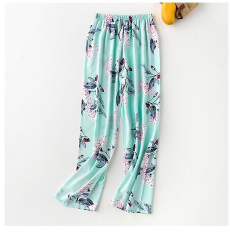 Women\\\'S Pajamas With Pants Spring Summer Cotton Sleep Bottoms Lounge Pants Sleep Trouser Woman Floral Pijama Pants