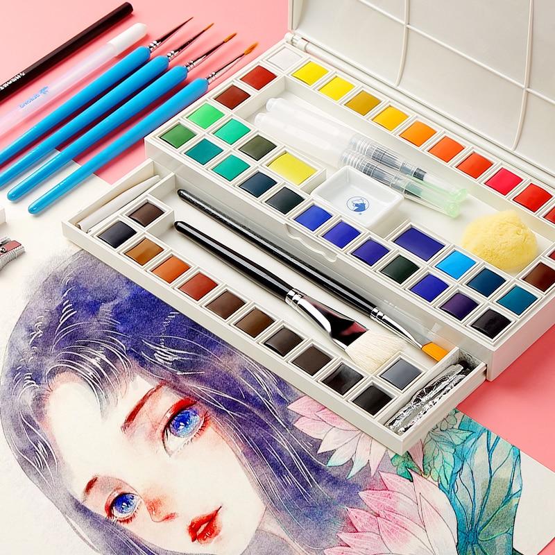 Marie's 18/36Colors Solid Watercolor Paint Set With Paint Brush Transparent Watercolor Pigment For School Student Art Supplies