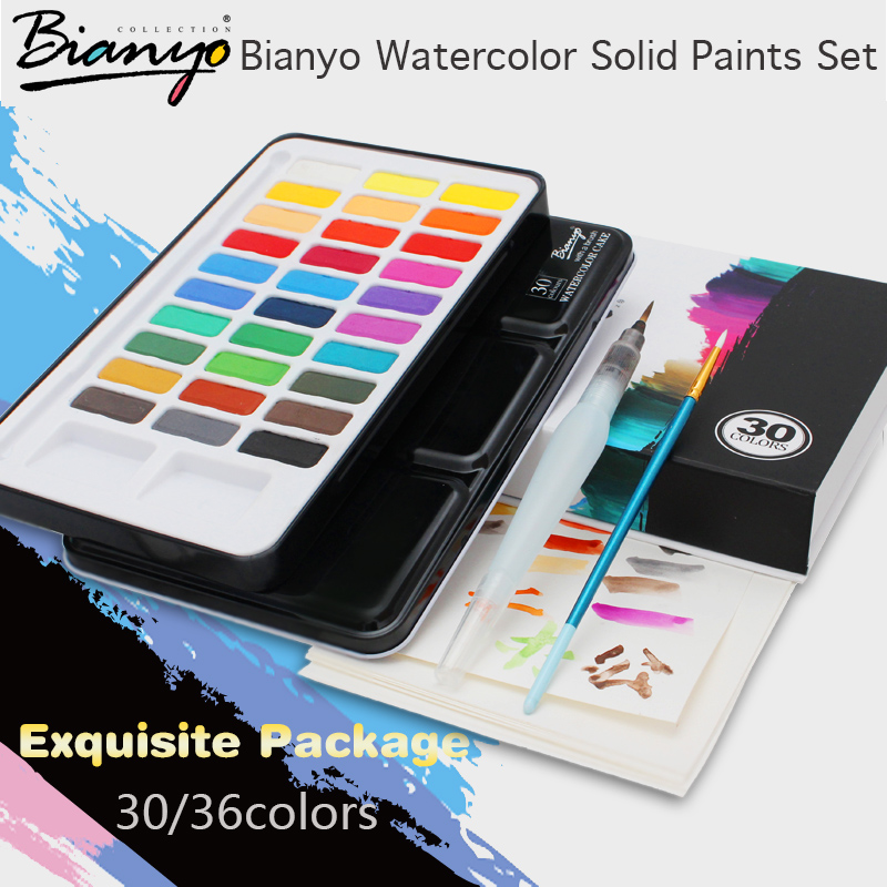 Buy bianyo 30 36 colors artist watercolor solid paints set for portable outdoor - Exterior blue paint set ...