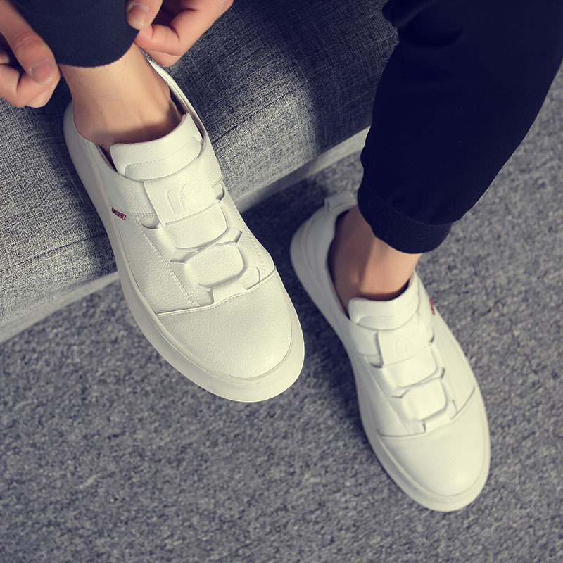 Hot Sale Fashion Men Skateboard Shoes Mens Lace-up Breathable Hard-wearing Soft Casual Shoes Men Simple White Shoes Size 38-43