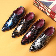 JUQI Men Print Dress Shoes Formal Pointed Toe Business Wedding Patent Leather For Large size 37-50